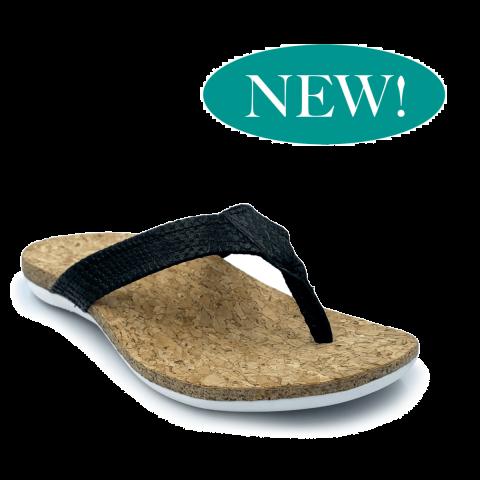SUBER Orthotic Flip Flops | Black | FootActive